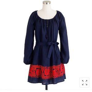 J. Crew Embroidered Linen Shirt Dress